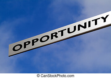 Opportunity - Finger sign against blue sky ready pointing to...