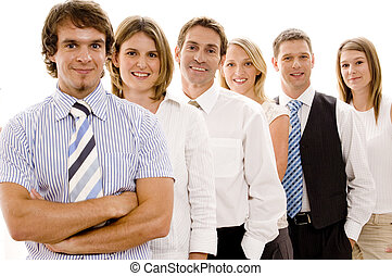 Confident Business Team - A group of six individuals make a...
