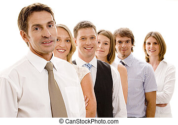 Group Business - A confident business team of six men and...
