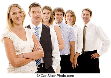 Happy Business Team - Six business men and women form a...