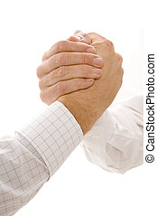 Hands Gripping - Two hands in an arm wrestling type grip