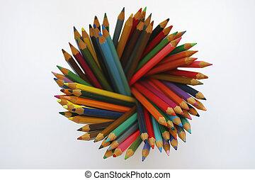 Rainbow Pencils - A pot of artist\\\'s coloring pencils,...