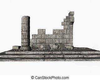 Greek Ruins - Greek ruins isolated on white