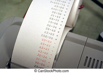 Adding Machine Tape - Adding machine tape showing some...