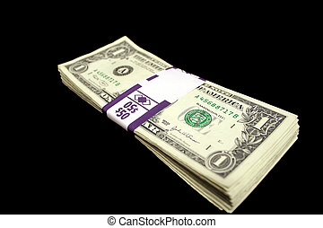 Stack of Money - A stack of one dollar bills, banded from...