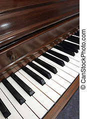 Closeup of diagonal picture of a piano - Closeup diagonal of...