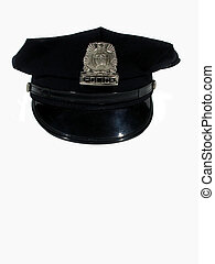 Police hat straight - ,a police hat straight on,over white