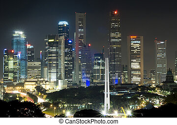 Singapore at night - The towering skyscrapers of Singapores...