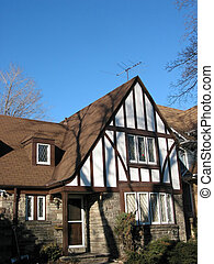 Tudor House - Tudor house with bright blue sky