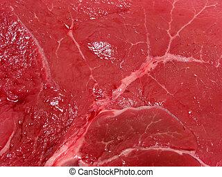 crudo, carne, textura
