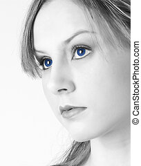 Blue Eyes - A beautiful young woman with blue eyes
