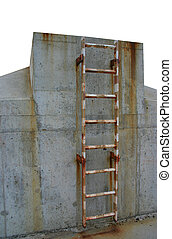 Rusty ladder leading - A construction with a ladder looking...