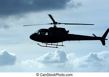 Helecopter flying at low altitude
