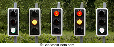ready steady GO - Composite shot of traffic lights in...