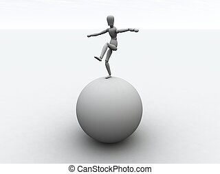 Balancing 1 - Balancing on a Sphere. 3D rendered...