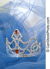 Jewelled Tiara on blue tulle background
