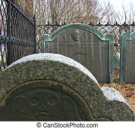 Burial stones at historic Burial hill in New England