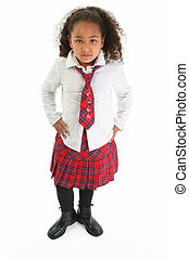 Girl Child Standing - Beautiful African American girl in a...