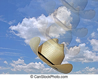 Photo of blue skies and white clouds and cowboy hat thrown...