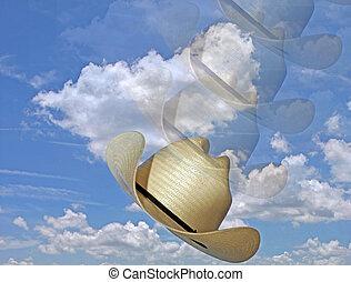 foto, azul, Cielos, blanco, nubes, vaquero, sombrero, pp de...