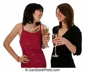 Women Champagne - Upper body shot of two girls drinking at a...