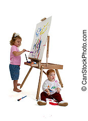 Child Sister Paint - Full body shots of two young children...