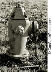 Fire Hydrant - Black and White photo of an old fire hydrant