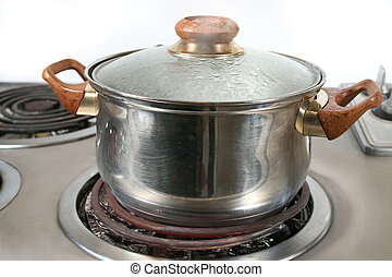 steaming pot  of boiling water