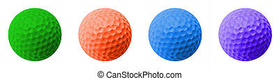 4 golf balls - 4 colored golf balls: green, orange, blue and...