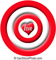 Love Bulls Eye - A red and white bullseye with a heart...