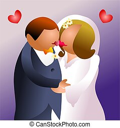 kiss the bride - bride and groom kissing - icon people...