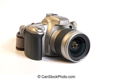 SLR Camera - SLR camera isolated over white