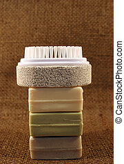 Soap and brush - Natural colored soaps and nail brush with...