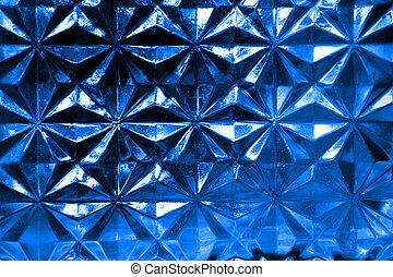 Blue Bottle - Patterned glass of a wine bottle.