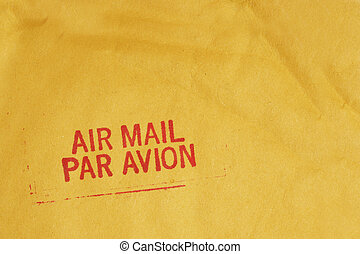 Airmail - Bright airmail stamp on envelopme