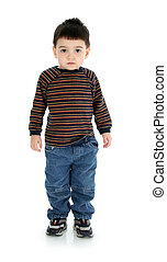 Boy Child Standing - Adorable toddler boy standing alone...