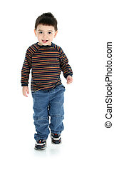 Boy Child Walking - Toddler boy in long sleeves and jeans...