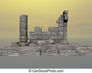 Greek Ruins - Greek ruins on a yellow sky