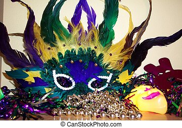 Mardi Gras Mask - Mardi Gras mask and Beads