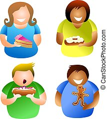 cake people - diverse people eating tasty cakes - icon...