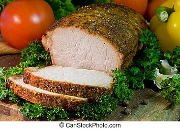 Roast Pork - Cold roast pork tenderloin with greens,...