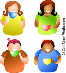 coffee break people - diverse people drinking coffee or tea...