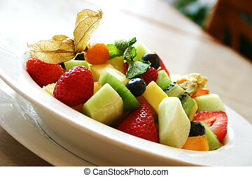 fresco, fruta, tazón