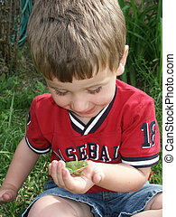 Frog excitment - A young boy excited about a tree frog