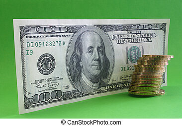 One hundred dollar note with coins
