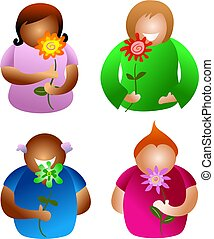 flower people - diverse people holding flowers - icon people...