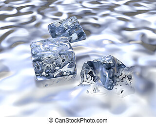 On the Rocks - Swimming Ice Cubes. 3D rendered illustration....
