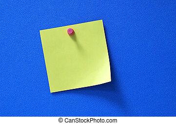 Blank post-it - A blank yellow purple post-it on blue...