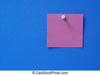 Blank post-it - A blank purple purple post-it on blue...