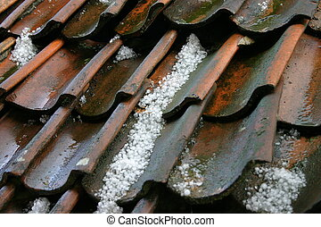 Old roof - Hailstones on an old roof